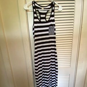 Old Navy black and white striped racer maxi dress